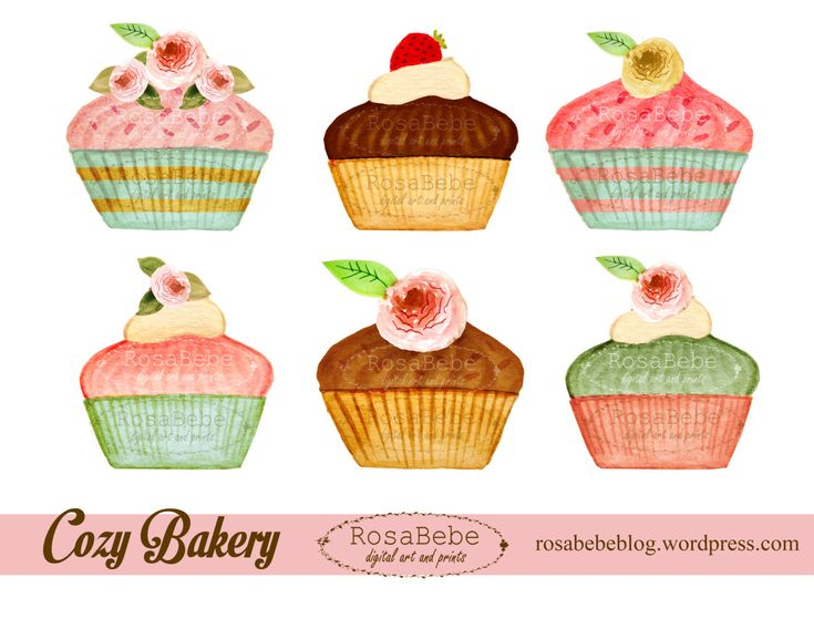 Cupcake hand painted clipart, bake goods clipart, party clipart, watercolor cupcakes clipart, shabby chic clipart, tea party clipart by rosabebe on Etsy https://www.etsy.com/listing/211317475/cupcake-hand-painted-clipart-bake-goods