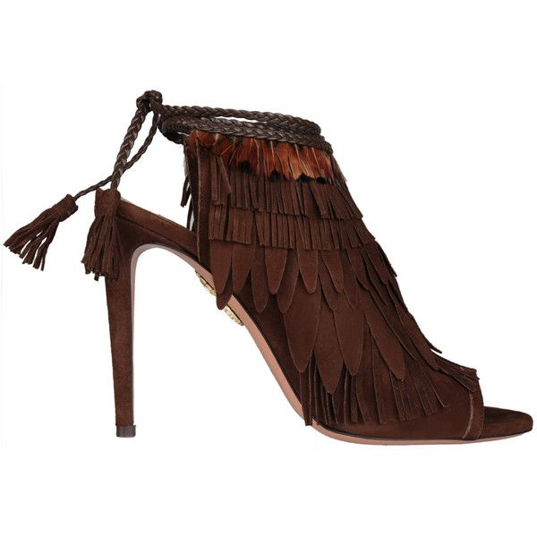 Aquazzura Chocolate suede Pocahontas ankle boots (11.533.795 IDR) ❤ liked on Polyvore featuring shoes, boots, ankle booties, marrone, suede fringe booties, short fringe boots, fringe booties, suede fringe boots and bootie boots