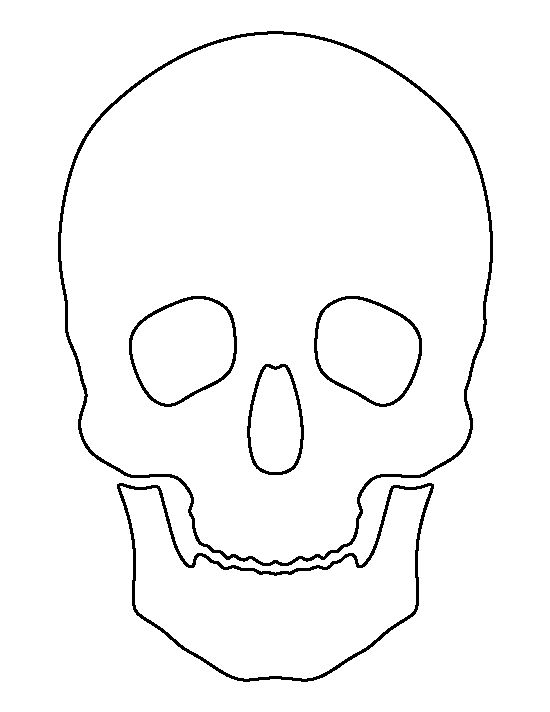 Skull pattern. Use the printable outline for crafts, creating stencils, scrapbooking, and more. Free PDF template to download and print at http://patternuniverse.com/download/skull-pattern/