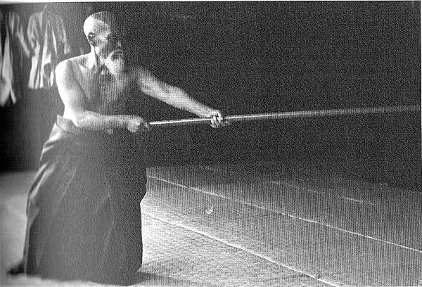 Bo Jutsu, the martial art of using a staff weapon. Demostrated by  who looks the creator of aikido, Morihei Ueshiba