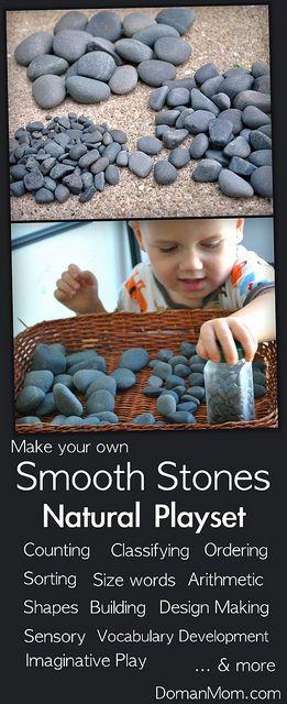 Make Your Own Smooth Stones Natural Play Set (for vocabulary development, math, sensory, & imaginative play) by DomanMom.com