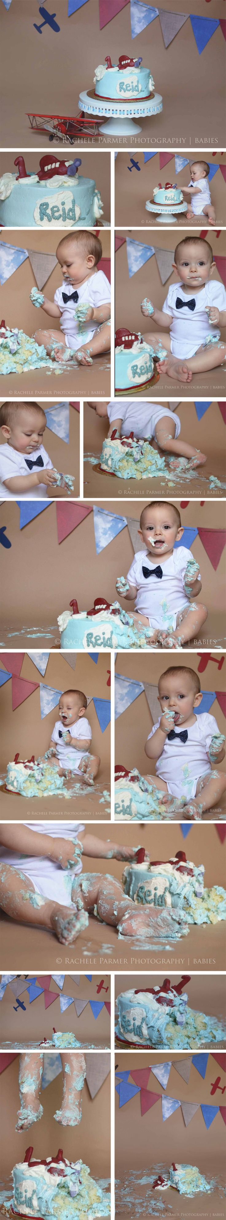 Time Flies Airplane Themed First Birthday Cake Smash | ©Rachele Parmer Photography