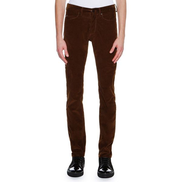 Lanvin Corduroy 5-Pocket Skinny Pants ($445) ❤ liked on Polyvore featuring men's fashion, men's clothing, men's pants, men's casual pants, beige, men's apparel pants, mens slim pants, mens zip off pants, men's five pocket pants and mens slim fit pants