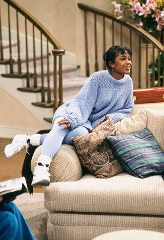 Tatyana Ali wearing sport socks and hi-tops as Ashley Banks in The Fresh Prince of Bel-Air