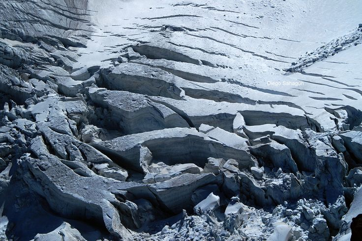 These crevasses stretch across the glacier transverse to the flow direction…