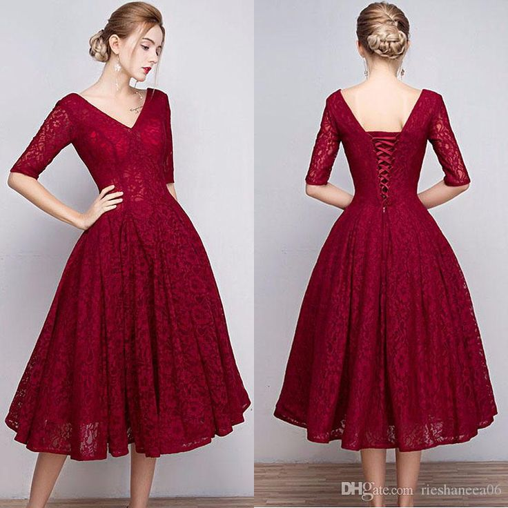 Modern Lace V Neck Burgundy Prom Dresses Short A Line Lace Up Tea Length Half Sleeves Homecoming Gown Graduation Gowns Vestidos De Formatura Prom Dress 2011 2015 Prom Dresses From Rieshaneea06, $90.46| Dhgate.Com
