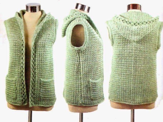 tejidos artesanales en crochet: chaleco tejido en crochet con trenzas en relieve (talle small)