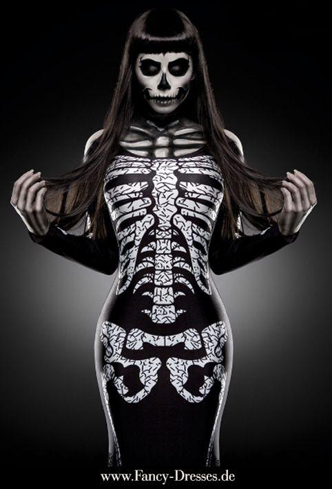 Aufregendes Skelett Kleid für Halloween. https://www.fancy-dresses.de/kostueme/halloween/zombies-und-teufel/skelett-kostuem