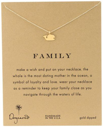"Dogeared Reminder ""Family"" Gold-Plated Sterling Silver Whale Pendant Necklace"