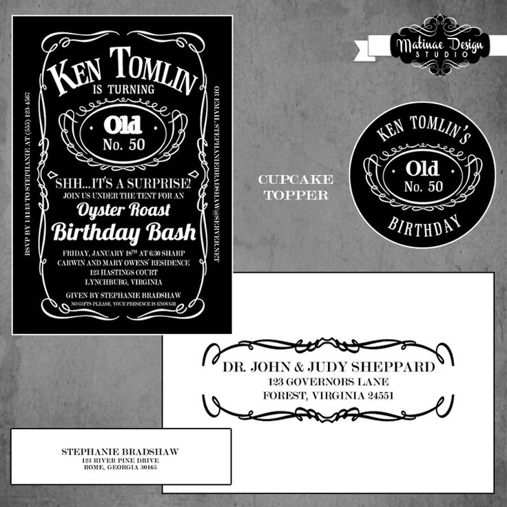 Jack Daniels inspired birthday invitation with coordinating envelope and cupcake topper by Matinae Design Studio.    www.matinaedesignstudio.com