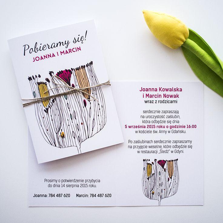 Simple wedding invitations with popp seed. / Zaproszenie ślubne z maczkiem.