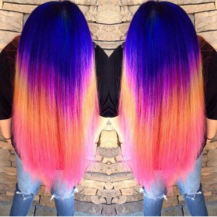 Neon Rainbow Hair Color by Ella Parrie hotonbeauty.com Mermaid hair Unicorn hair Hair color melt Hair painting