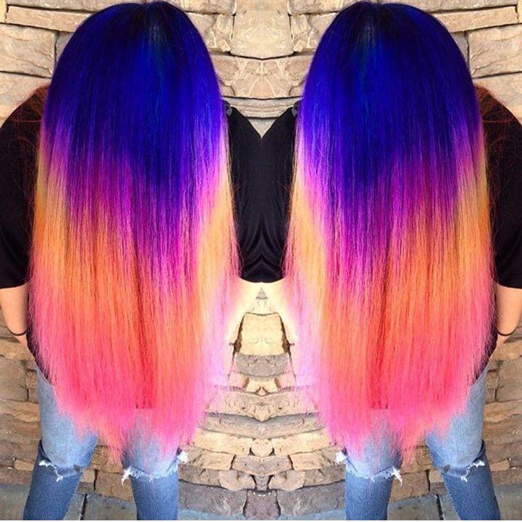 Neon Rainbow Hair Color by Ella Parrie hotonbeauty.com Mermaid hair Unicorn hair Hair color melt Hair painting