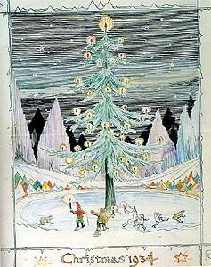"""Father Christmas included this drawing in a 1934 letter to Christopher Tolkien. The tree came """"all the way from Norway"""" and was planted in a pool of ice."""