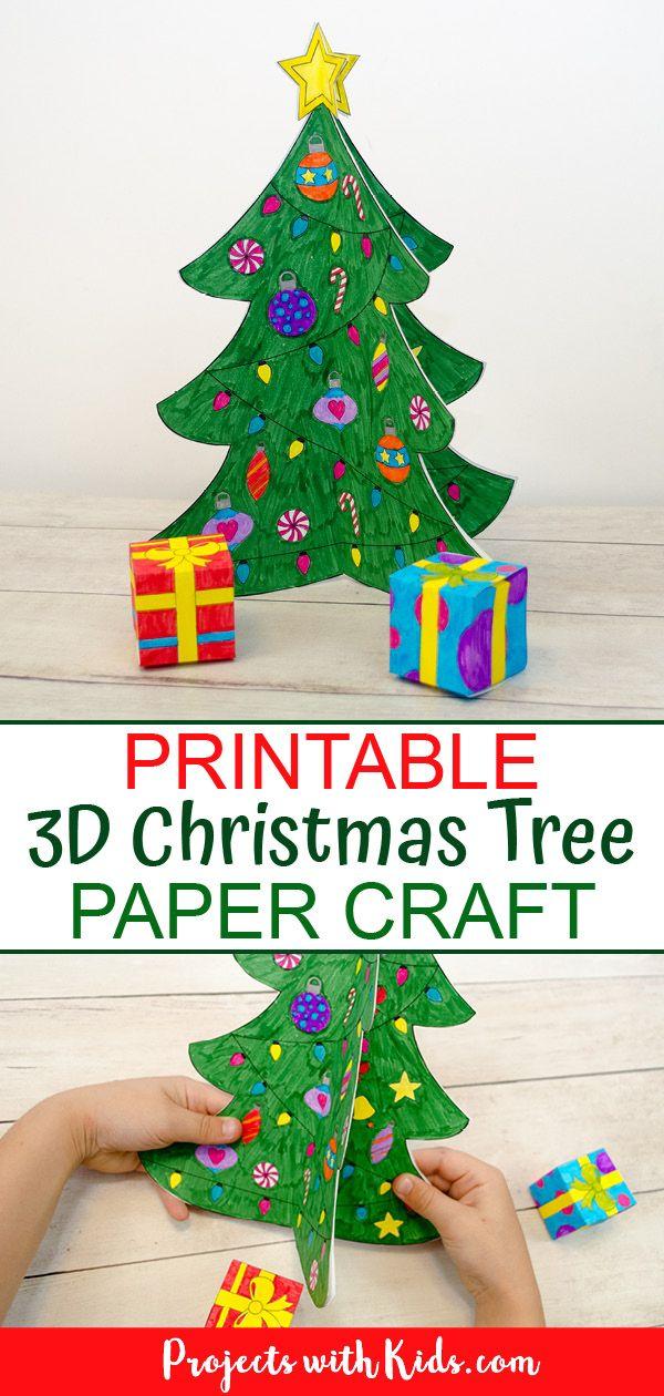Printable 3d Christmas Tree Paper Craft Christmas Tree Paper Craft Paper Crafts Christmas Crafts For Kids