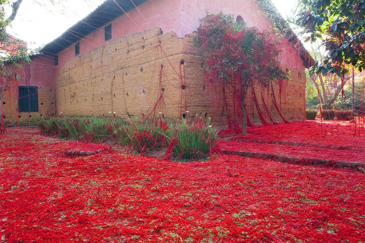 """Gallery of Tatiana Blass' """"Penelope"""" Crosses Chapel Walls with Enigmatic Red Wool - 4"""