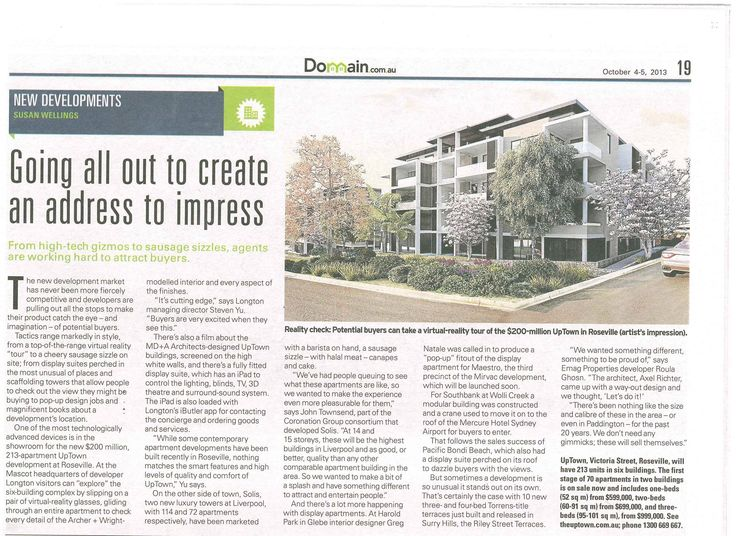Uptown as featured in Domain 4 Oct 2013, 'Going all out to create an address to impress' by Susan Wellings.