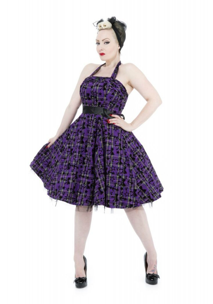 Vintage 1950s style  Plaid Purple Black Tartan Flocked Stars, Bows and Anchors Cocktail Dress - Modern Grease Clothing and Accessories Co.