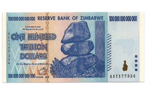 """Zimbabwean 100-trillion dollar banknote: yes, that's a real one.  More info on the current ANS exhibition """"Signs of Inflation"""" in The Federal Reserve Bank of NY you'll find here: http://numismatics.org/Exhibits/SignsofInflation  (image source: Courtesy of Francois Velde and the American Numismatic Society, NYC on http://www.thedailybeast.com/newsweek/2012/04/29/exhibit-considers-the-politics-and-art-of-inflation.html)"""