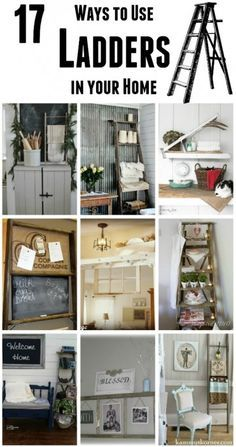 repurposed ladders, I think Grandma Nunns old wooden ladders deserve the treatment...I'll get new boring ones for outside!