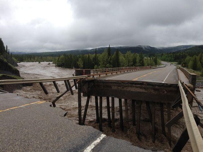 June 20, 2013, Alberta Flooding Hwy 66 Bridge over Elbow River, Bragg Creek