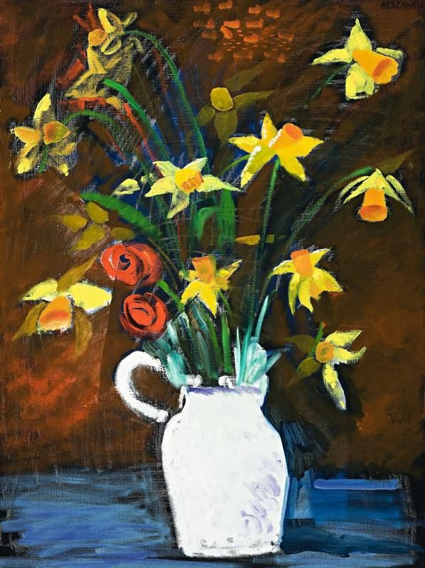 Charles Blackman ~ Daffodils in a White Vase, c.1985