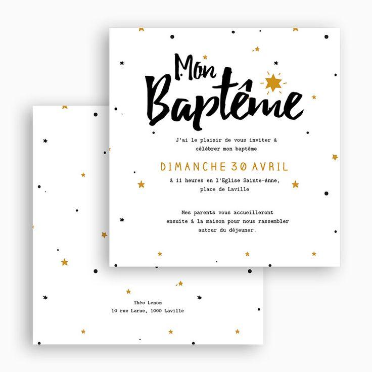 """Moderne et dynamisant, ce modèle de faire-part de baptême annonce une sacrée bénédiction. """"Mon Baptême"""" écrit en lettres très graphiques, un peu à"""