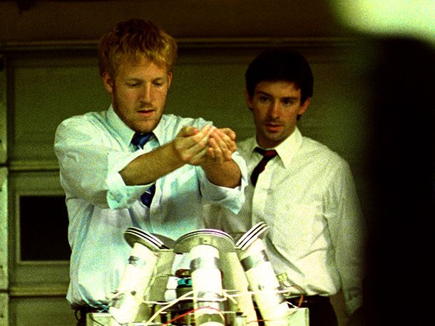 Primer (2004)  Bending its celluloid into a Möbius strip, this miraculously low-budget (only $7,000) sci-fi thinker — about a pair of friends who accidentally discover time-travel — has a labyrinthine, paradox-studded plot that works like a treadmill for your brain. Luckily it's also fun, so you won't mind when you inevitably have to rewatch it. —Keith Staskiewicz