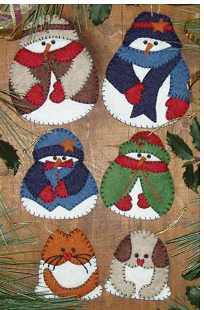 Snow Folk Christmas Ornaments - Felt Applique Kit Awww!... 2 big snowmen, 2 litlte ones, a kitty and a puppy - one big happy family!