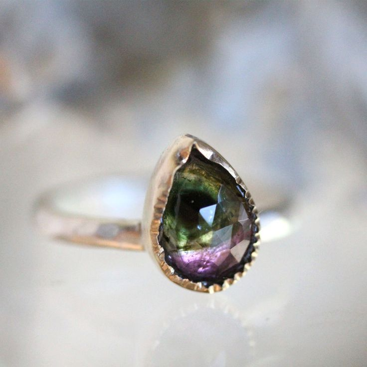 Watermelon Tourmaline 14K Yellow Gold and Sterling Silver Ring (D), Gemstone Ring, Stacking Ring, Silver Ring - Ship In The Next 9 Days by louisagallery on Etsy