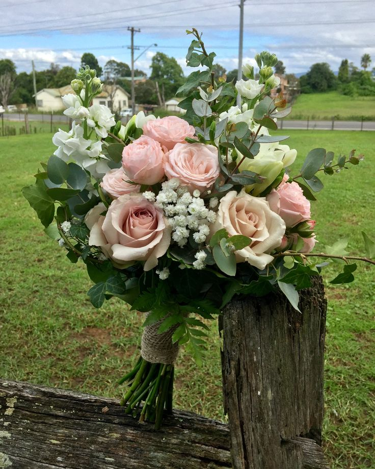 stocks, clustar roses, roses babies breath Bouquet created by Lovely Bridal Blooms