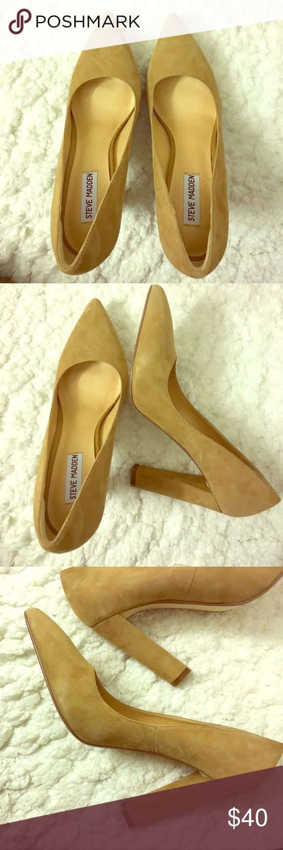 Steve Madden nude suede block heel pumps Steve Madden nude suede block heel pumps - never worn and super on trend! 4 inch heel. Size 9.5. Adhesive heel grips are already in for added support and comfort to prevent your heel from slipping out or having friction from the back of the shoe, but very easily removed Steve Madden Shoes Heels