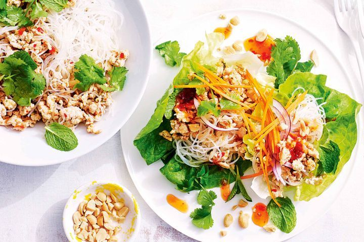 Thai chicken and vermicelli salad in lettuce cups