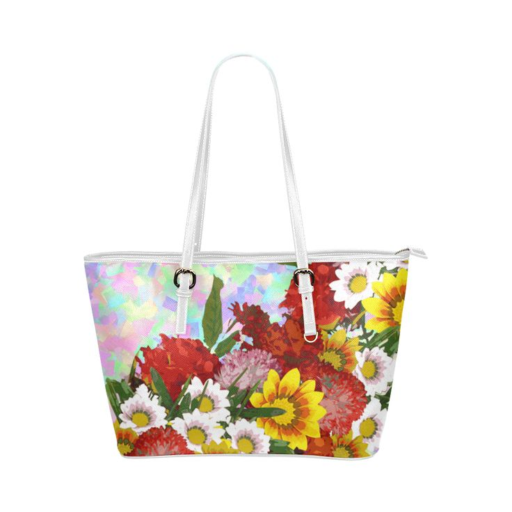 Posie of Flowers Leather Tote Bag/Large (Model 1651)