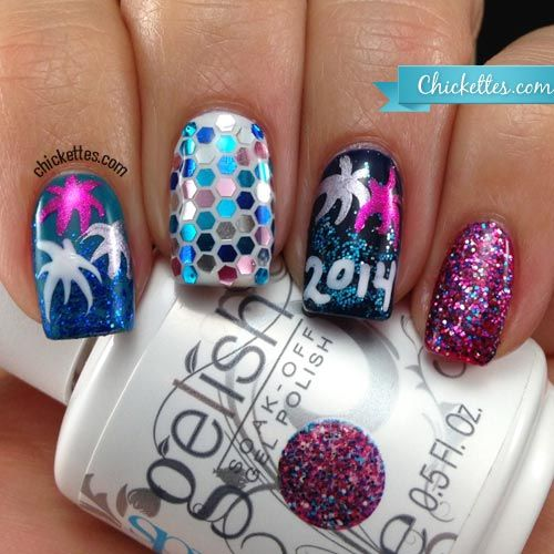 Chickettes.com 2014 New Year's Eve Nail Art