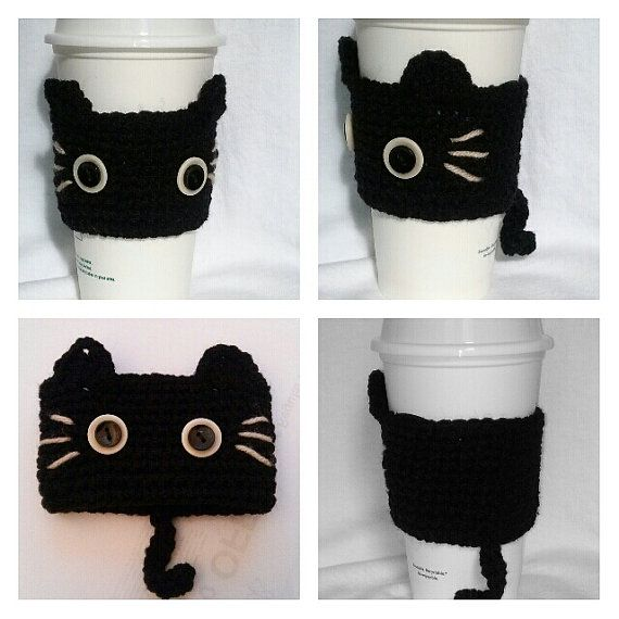 Crochet Black CAT Inspired Coffee Cup Cozy on Etsy, $7.99