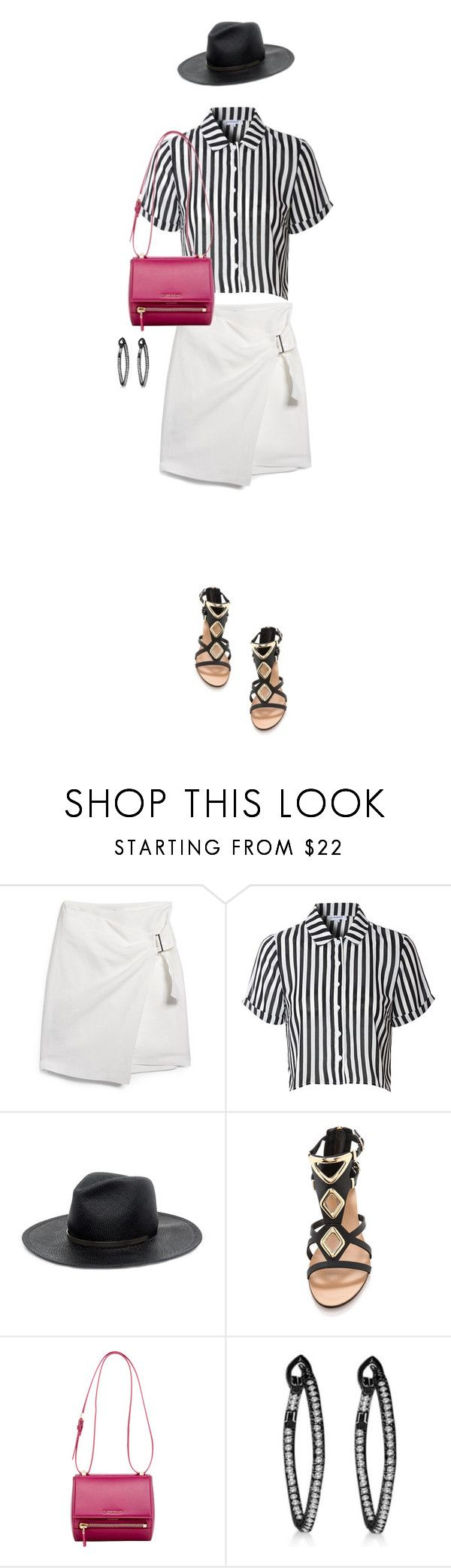 """""""White Skirt"""" by justjules2332 ❤ liked on Polyvore featuring MANGO, Glamorous, Janessa Leone, Carvela Kurt Geiger and Givenchy"""