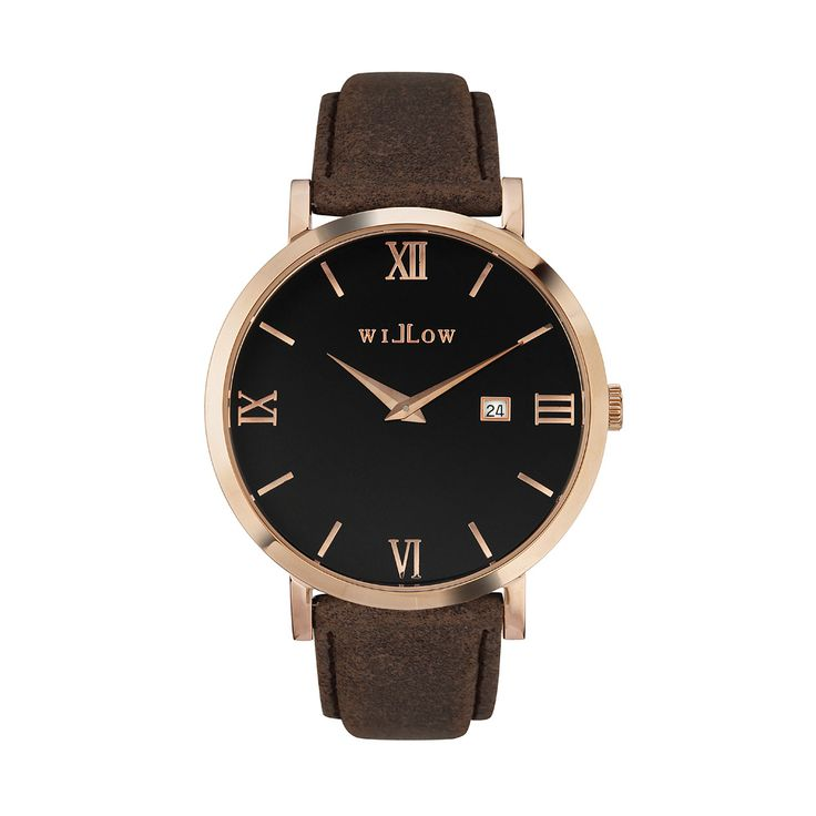 Roma Rose Gold Watch & Interchangeable Brown Leather Strap.
