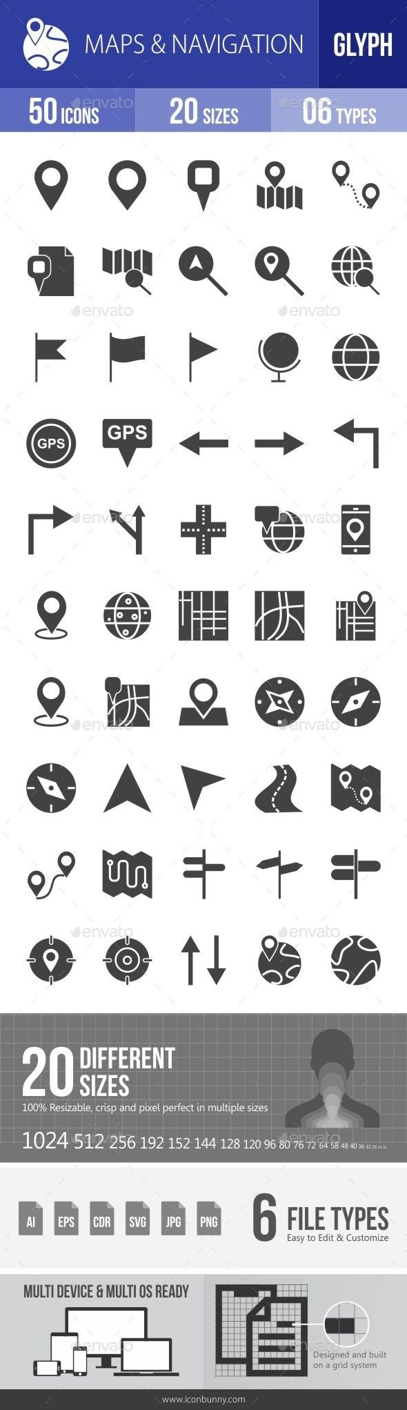 Maps & Navigation Glyph Icons