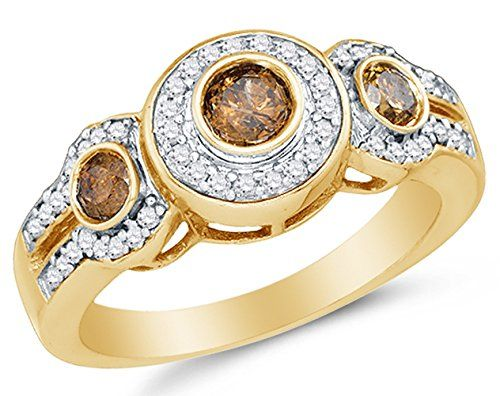 Size 6 – 10K Yellow Gold Chocolate Brown & White Round Diamond Halo Circle Engagement Ring – Prong Set Three Stone Center Setting Shape with Channel Set Side Stones (4/5 cttw.) by Sonia Jewels - See more at: http://blackdiamondgemstone.com/colored-diamonds/jewelry/wedding-anniversary/engagement-rings/size-6-10k-yellow-gold-chocolate-brown-white-round-diamond-halo-circle-engagement-ring-prong-set-three-stone-center-setting-shape-with-channel-set-side-stones-45-cttw-com/#sthash.3gzLwz5L.dpuf
