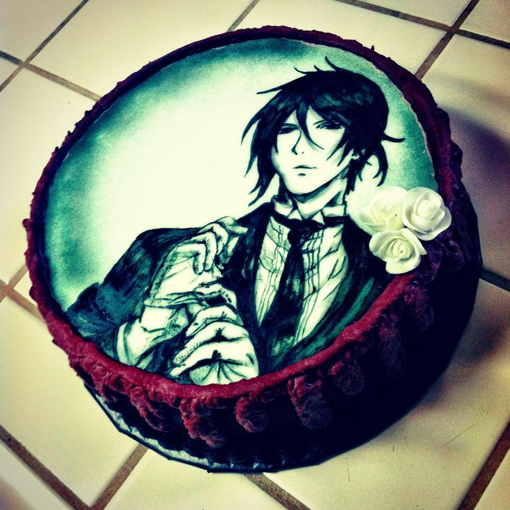 Handpainted Black Butler anime cake by Layde Cakes I would do just about anything to have this cake. Then  wouldnt eat it, rather freeze it, forever, and cherish it, until I die. Then pass it on to my children whom I got into Kuroshitsuji. Then they could pass it onto their children.
