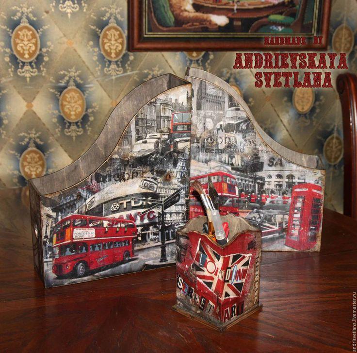Купить Канцелярский набор Старый Лондон - черно-белый, старый лондон, лондон, журнальницы, журнальница
