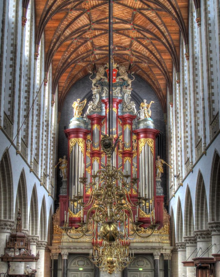 St Bavo's Church, Haarlem (Netherlands). The chandeliers in the foreground depicted by M.C. Escher. By Morag Casey on flickr