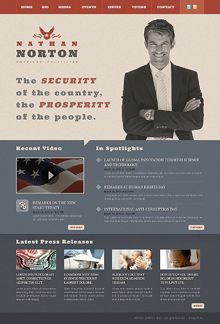 Political Website Template #38111 - good use of color variance
