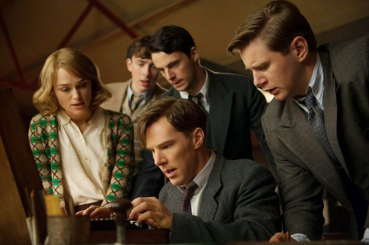 Benedict Cumberbatch as Alan Turing in The Imitation Game, 2014 with Matthew Goode, Keira Knightly, and Allen Leech.