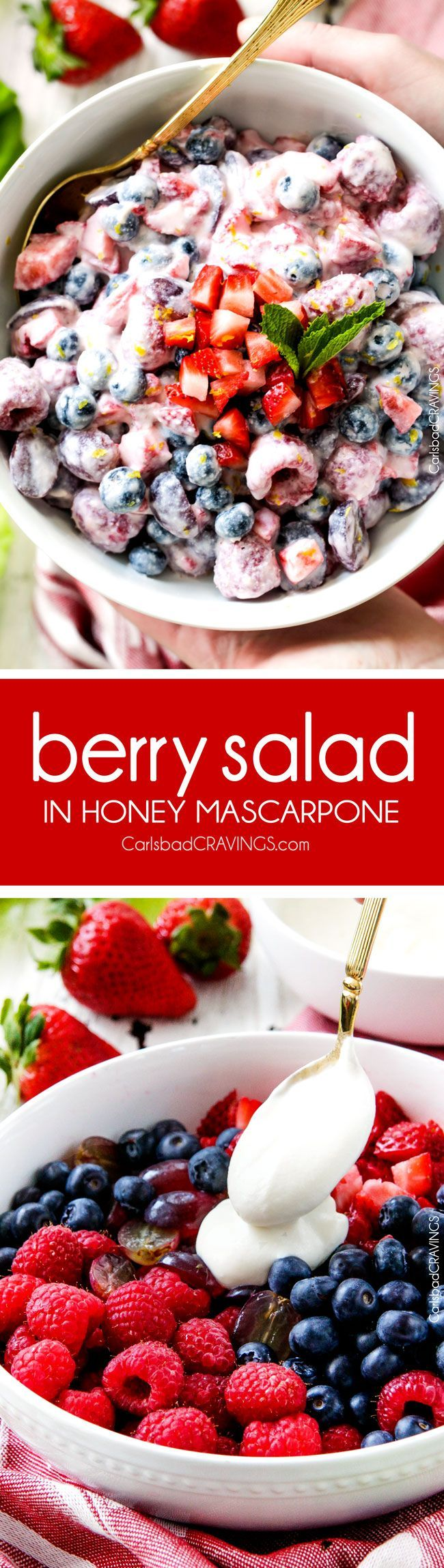 Fresh Berry Salad is one of the BEST fruit salads you will ever make! Smothered in sweet and tangy, incredibly creamy Honey Mascarpone that takes minutes to whip up and tastes incredible! Perfect for brunch, barbecues and all your pool side parties!