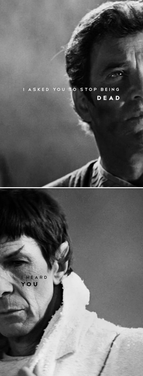 Kirk + Spock: I asked you to stop being dad. (I heard you.) #startrek #tos