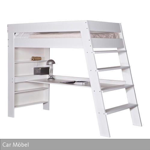 Das weiß lackierte Kinderhochbett von Car Möbel verbindet Hochbett und Schreibtisch in einem Möbelstück und spart somit viel Platz. Das aus Kiefernholz…