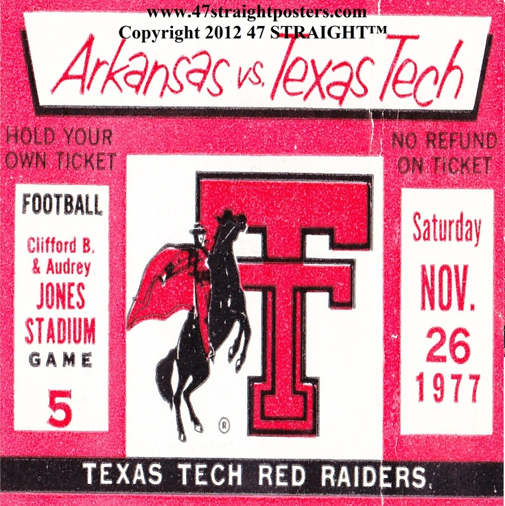 Available Soon. 1977 Arkansas vs. Texas Tech Football Ticket Coasters.™ Ceramic drink coasters printed in the U.S.A. Not affiliated, licensed, sponsored, or endorsed by any college, university, or licensing entity. Made from authentic game tickets. http://www.christmasfootballgifts.com/ Christmas football gifts. The best gifts for football fans! #47straight #gifts Made from authentic game tickets in the 47 STRAIGHT Collection.™