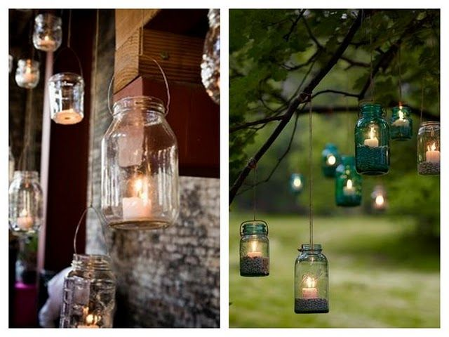 Beautiful idea for lighting up the garden in the evening #lighting #masonjars #candles